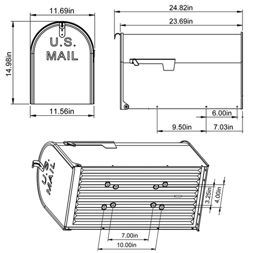 mailbox dimensions. Solar Group Inc ST20 Galvanized Steel Gray Rural Mailbox Image 7 Of Dimensions