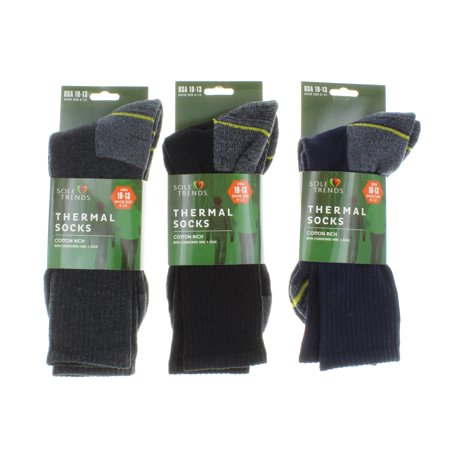 3 Pairs Cold Weather Thermal Socks For Men Sole Trend Size 10-13 Blue Black