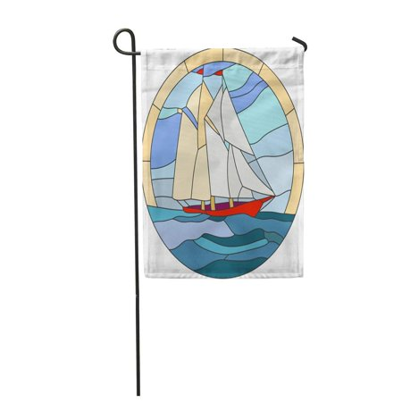 LADDKE Blue Ocean Ship Stained Glass Window Boat Caravel Evening Garden Flag Decorative Flag House Banner 12x18 inch - Ocean Stained Glass