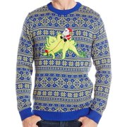Mens Sweater Crewneck Ugly Christmas Dinosaur XL