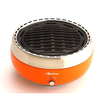 Homping Grill - Ultimate Portable Charcoal BBQ Grill. Produces Less smoke. Combined with its electric fan for air/heat control. Tailgating grill (Orange) (Smoke Hollow Charcoal Grill)