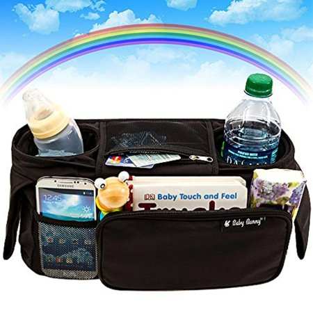 stroller organizer, baby organizers fits all strollers, britax, graco, pram, city stroller, maclaren, works best with cute babies, collapsible frame folds design with 2 deep drink holders & 1 large