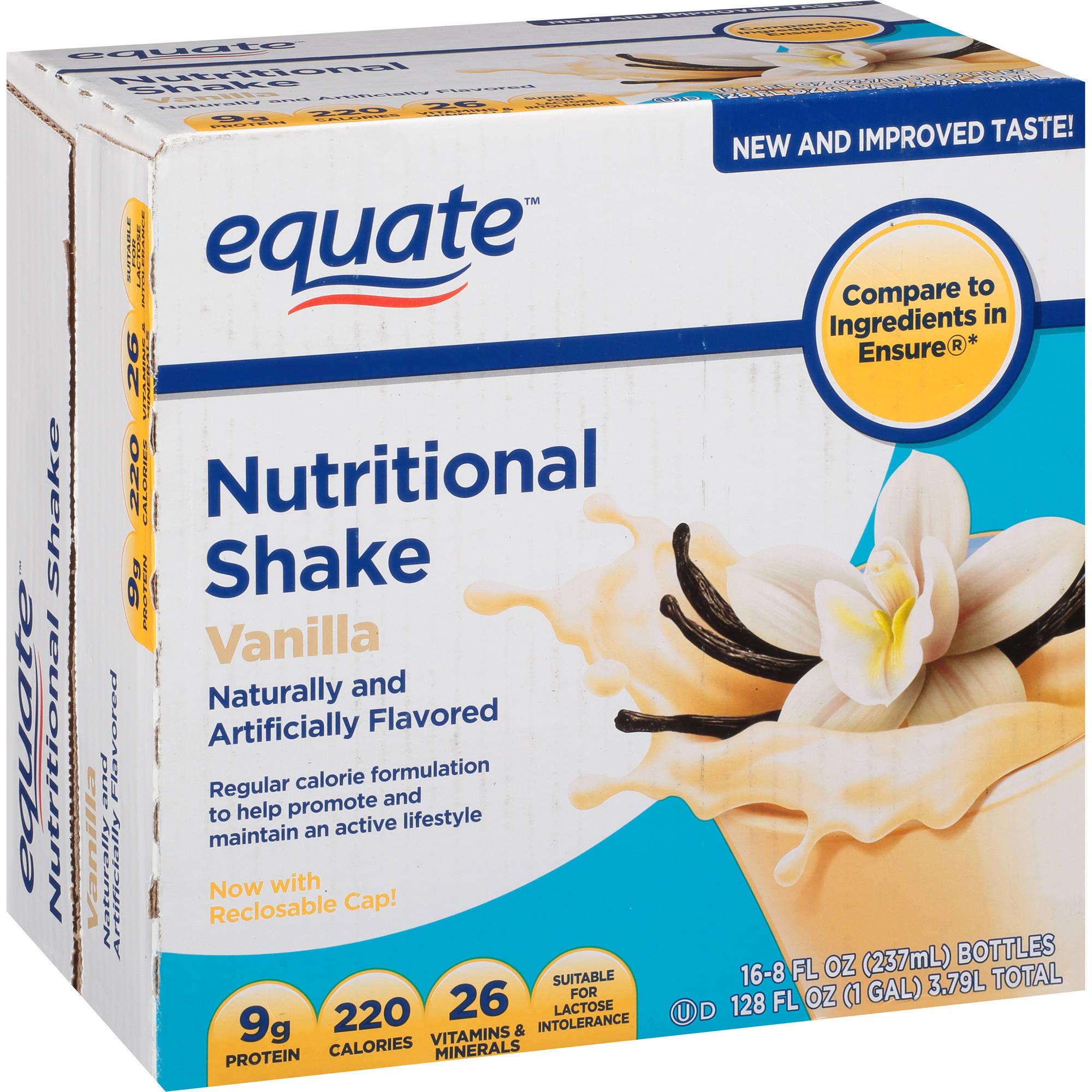 Equate Vanilla Nutritional Shake, 8 Oz, 16 Ct