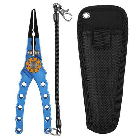 "TSV 7.8"" Fishing Pliers, Corrosion Resistant Coated Fishing Tools, Aluminum Carbide Cutters, Saltwater Resistant Fishing Gear, with Nylon Sheath + Secure Lanyard"