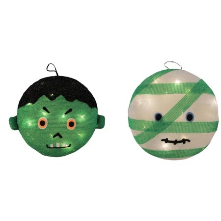 Frankenstein Castle Halloween Party 2019 (Set of 2 Battery Operated LED Lighted Mummy & Frankenstein Hanging Outdoor Halloween Decorations)