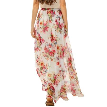 Allegra K Women's Elastic Waist Floral Prints Chiffon Flowy Maxi Skirt