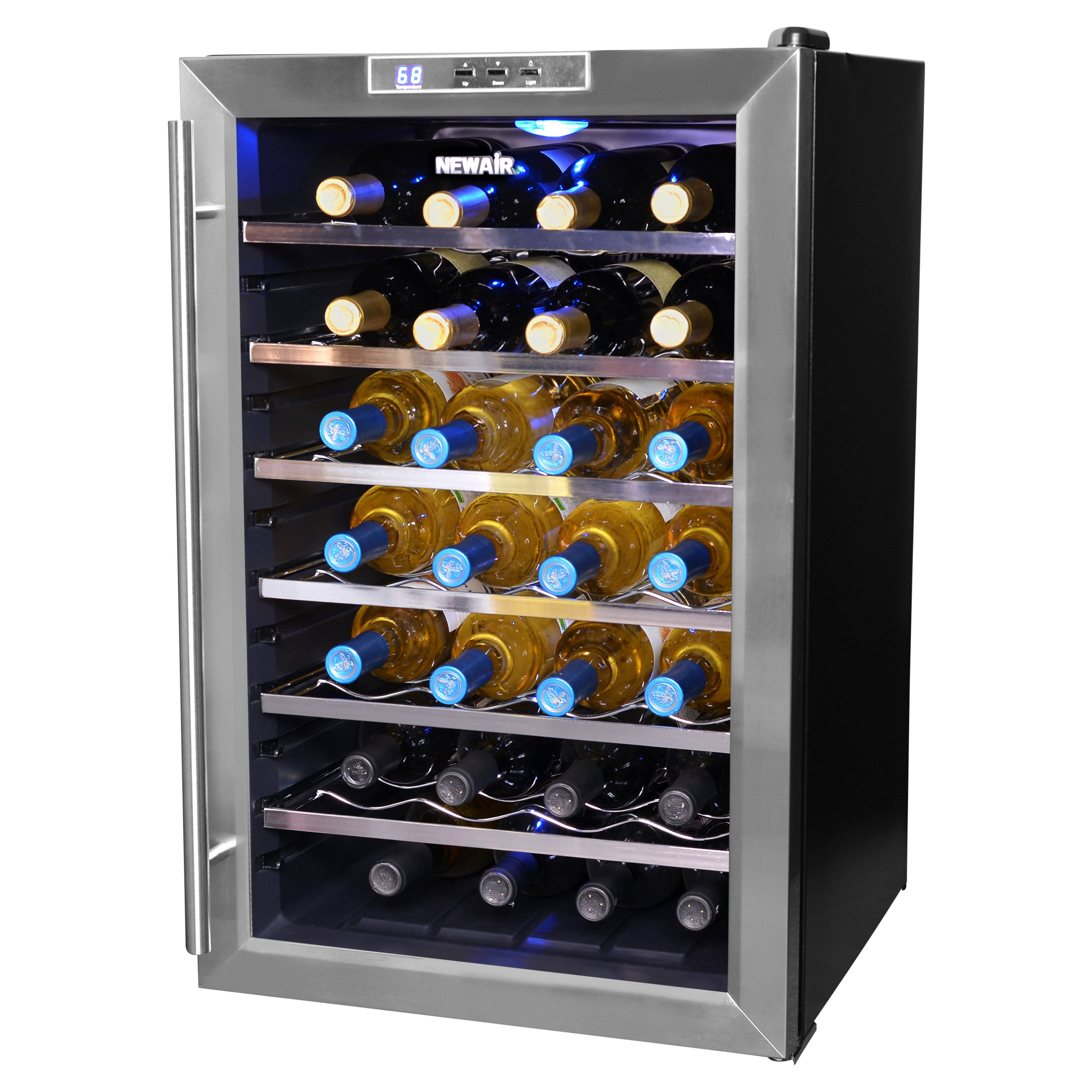 NewAir AW-281E 28-Bottle Thermoelectric Wine Refrigerator, Stainless Steel and Black