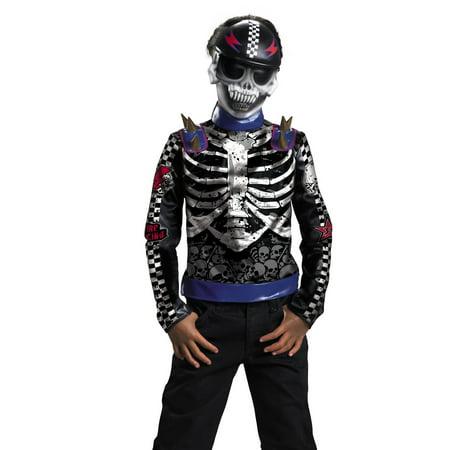 Disguise Boys Skeleton Skater Skull Biker Kids Halloween Costume (Sugar Skull Skeleton Costume)
