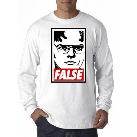 New Way 1154 - Unisex Long-Sleeve T-Shirt Dwight Schrute The Office USA False Statement XL - The Office Halloween Dwight
