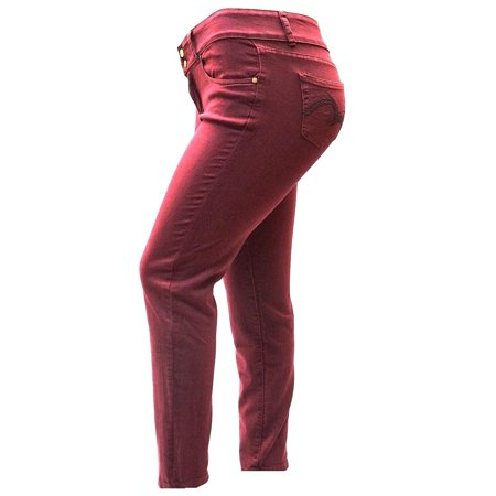 Holystone Womens Plus Size Burgundy Red Denim skinny jeans Stretch Pants