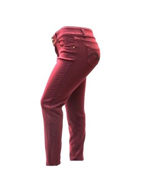 37fc81056dd Product Image Womens Plus Size Burgundy Red Denim skinny jeans Stretch Pants