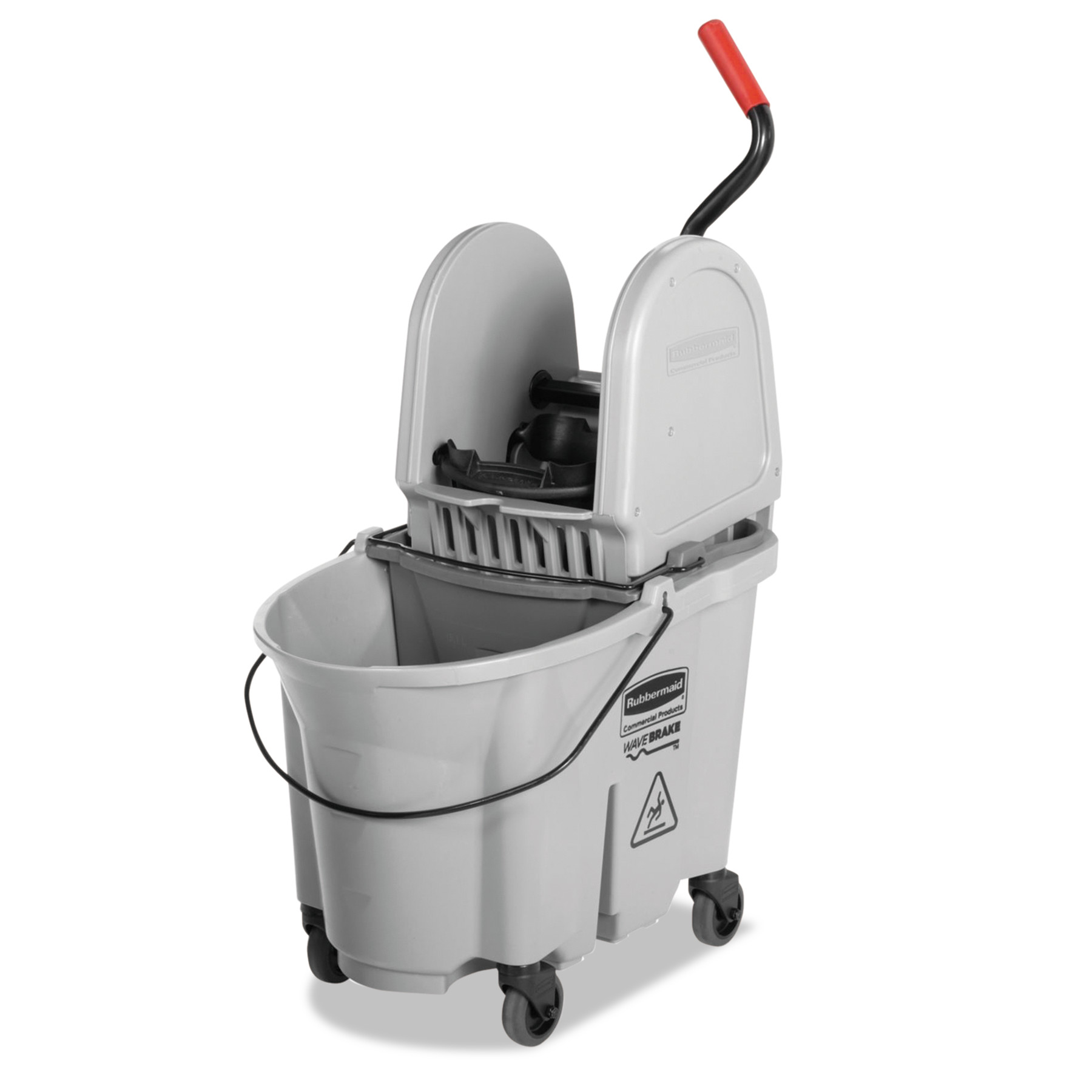 Rubbermaid Commercial Executive WaveBrake Down-Press Mop Bucket, Gray, 35 Quart