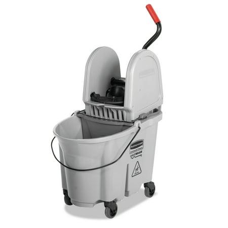 Rubbermaid Commercial Executive WaveBrake Down-Press Mop Bucket, Gray, 35 (Commercial Mop Bucket)