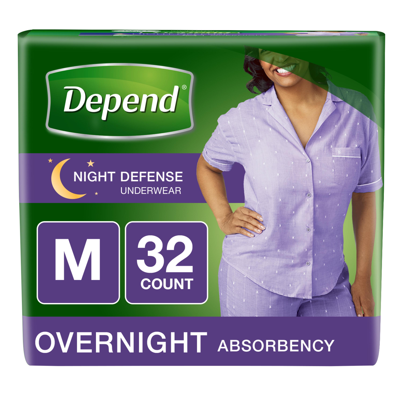 Depend Night Defense Incontinence Overnight Underwear for Women, M 32 ct