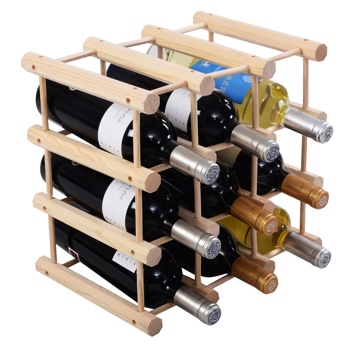 Costway 12 Bottle Wood Wine Rack Bottle Holder Storage Display Natural Kitchen