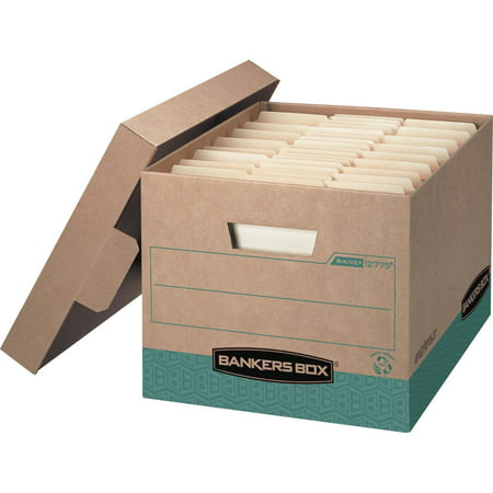 Bankers Box Side Tab Storage - Bankers Box, FEL12775, R-Kive Heavy-Duty Storage Box, 12 / Carton, Kraft,Green