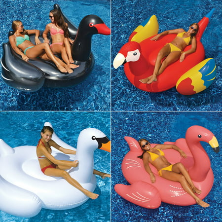 Swimline Giant Swan, Flamingo, Black Swan, and Parrot Floats for Swimming Pools