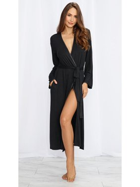 aedd9aec0e97 Product Image Long Black Soft Jersey Robe