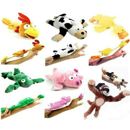 - 6pc Set of Slingshot Flingshot Flying Animals with Sound Monkey Pig Chicken Cow Duck Frog, Set Includes Monkey, Pig, Cow, Chicken, Duck and Frog By Playmaker Toys