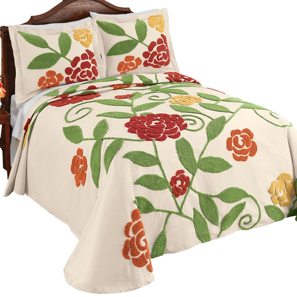 Reseda Large Flower Garden Pattern Chenille Lightweight Bedspread in Yellow Orange Red Sage Green Colors, Full, Multi