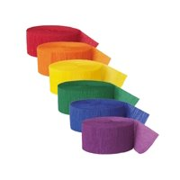 Rainbow Crepe Paper Streamers, Assorted, 81ft, 6ct