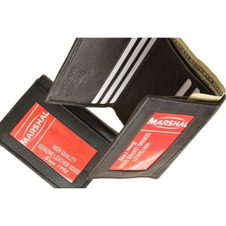menswallet trifold mens leather wallet w 2 outside id windows 3655