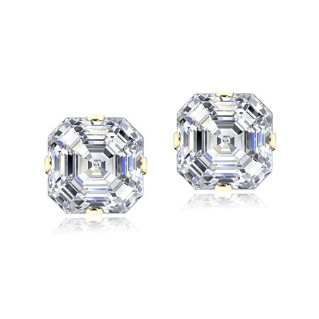 14K Yellow Gold 6mm Asscher-Cut Cubic Zirconia Stud Earrings ()