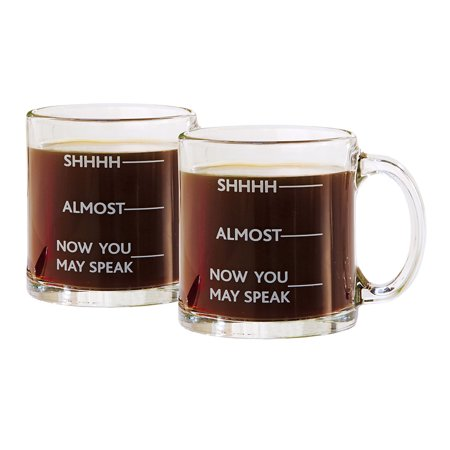 Shhh, Almost, Now You May Speak - Funny Coffee Mug - Set of 2 ()