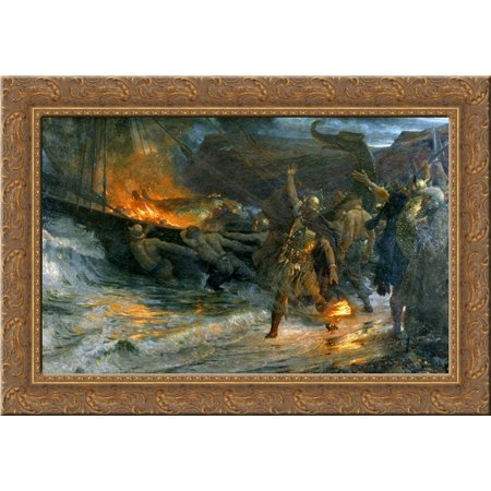 The Funeral of a Viking 24x18 Gold Ornate Wood Framed Canvas Art by Frank (Viking Funeral)