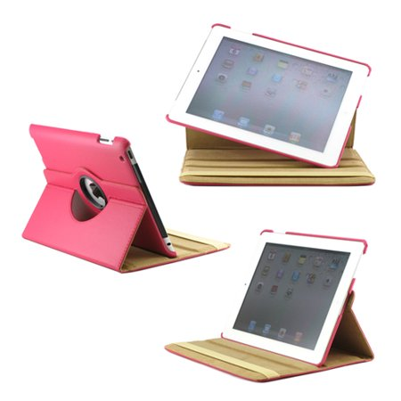 360 Degree Rotating Dual Layer PU Leather case with smart Cover function Swivel Stand for iPad 2 3 4