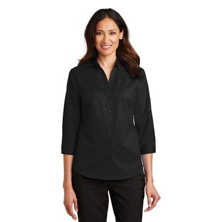 Port Authority® Ladies 3/4-Sleeve Superpro™ Twill Shirt. L665 Black M - image 1 de 1