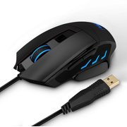 VicTsing 6400 DPI Programmable Laser Gaming Mouse for PC, 7 Adjustable Buttons, 5 LED Backlight,Weight and Balance Tuning, Black, for Gamers & Office