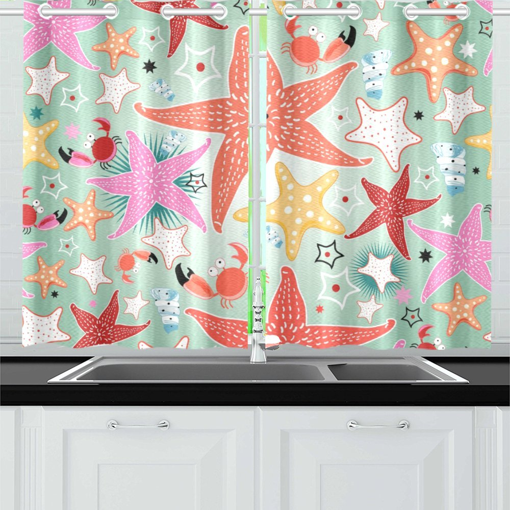 MKHERT Colorful Bright Sea Star Window Curtains Kitchen