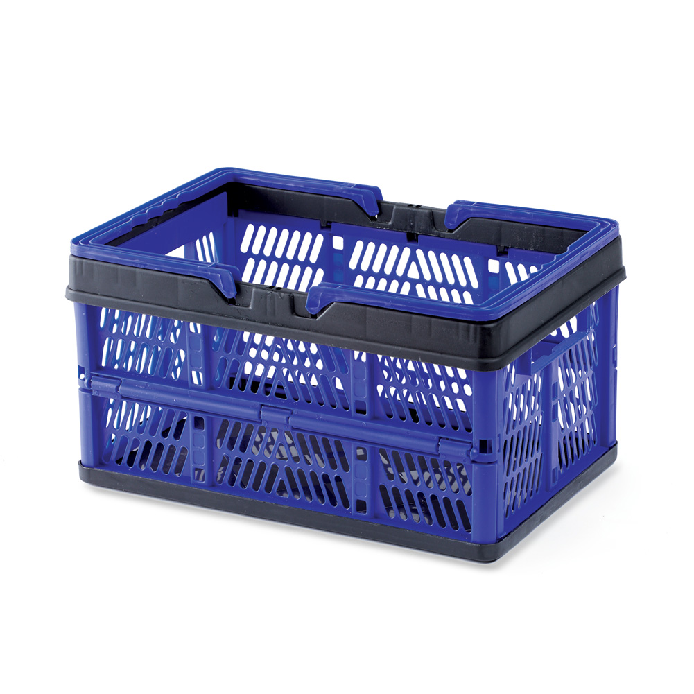 Collapsible Plastic Storage Crate with Folding Handles, Easy Store Away, Blue