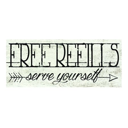 Free Refills Serve Yourself Kitchen Advertising Sign Distressed Wood