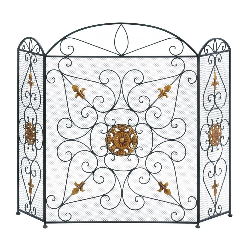 "Splendor Fireplace Screen, Center panel: 26"" x 34 1 2"" high; each side panel is 10 5 8"" x 31 5 8""... by"