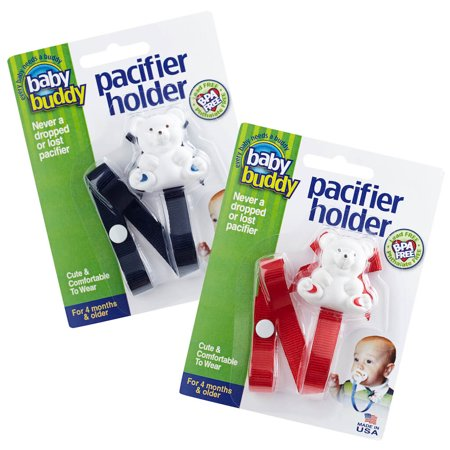 Bear Pacifier Holder - Bear Pacifier Holder Keeps Pacifiers Nearby and Off the Ground, Pick the Clip that Grips so Kids Won't Pull the Binky Off, Metal Snaps instead of Velcro, BPA Free, 2 Count Value Pack, NAVY-RED