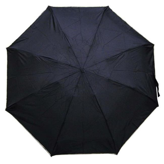 Conch Umbrellas 44140 Black 43 inch 4 Fold Umbrella, Folds Into 8 inch Long