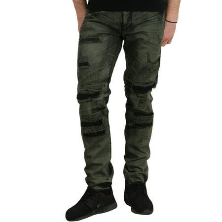 Dip Dyed Denim (Jordan Craig Bleached Garment Dyed Shredded Aaron Jeans )