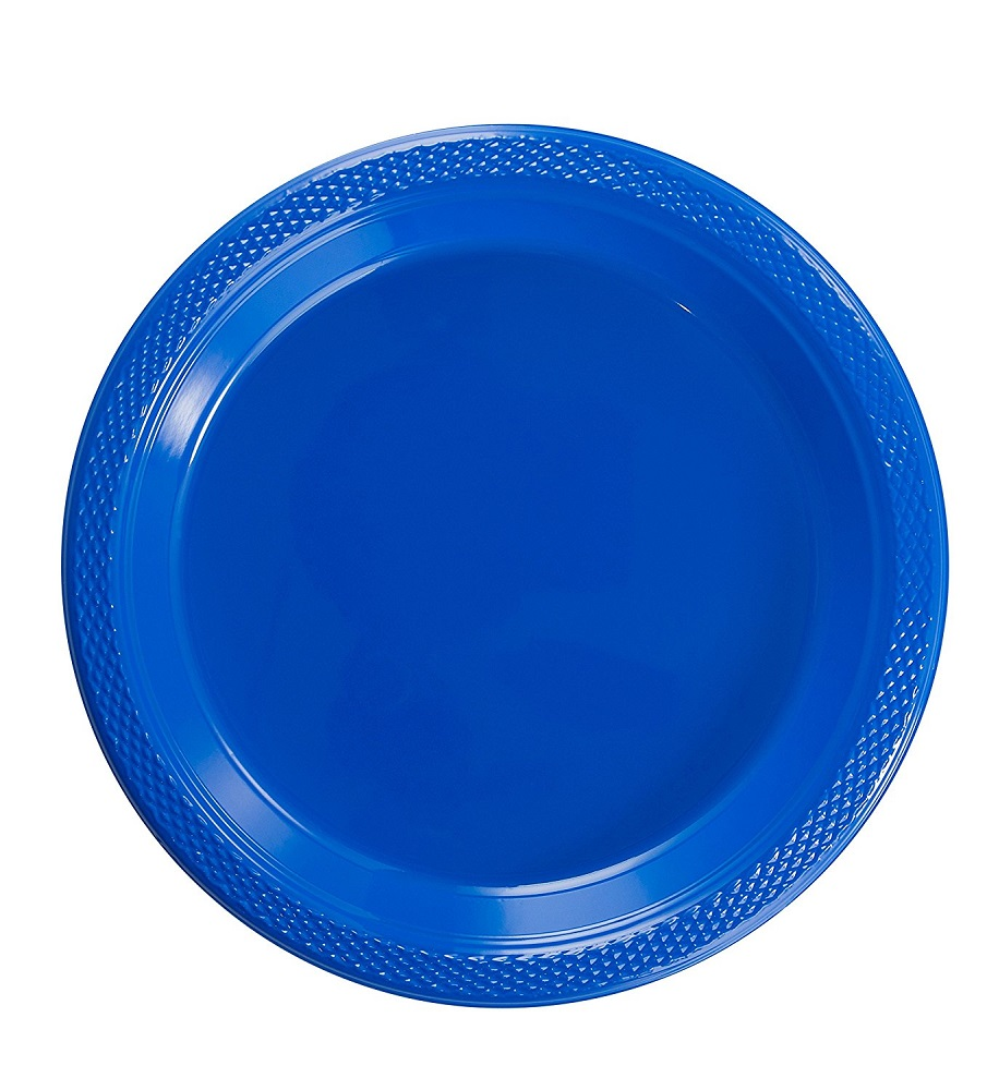 Exquisite 10\  Disposable Plastic Plates Bulk - 100 Count Party Pack - Plastic Disposable Lunch \u0026 Dinner Plates Dark Blue  sc 1 st  Walmart.com & Exquisite 10\