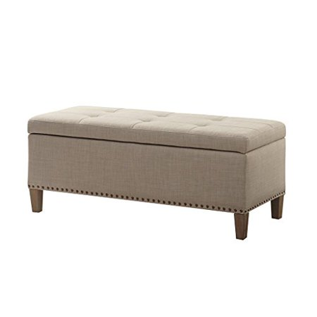- Modern Beige Linen Upholstered Button Tufted Storage Bench Ottoman with Silver Nailheads & Black Legs