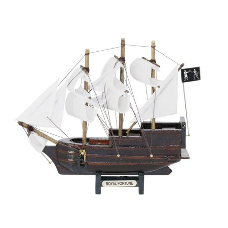 Wooden Black Bart's Royal Fortune White Sails Model Pirate Ship 7