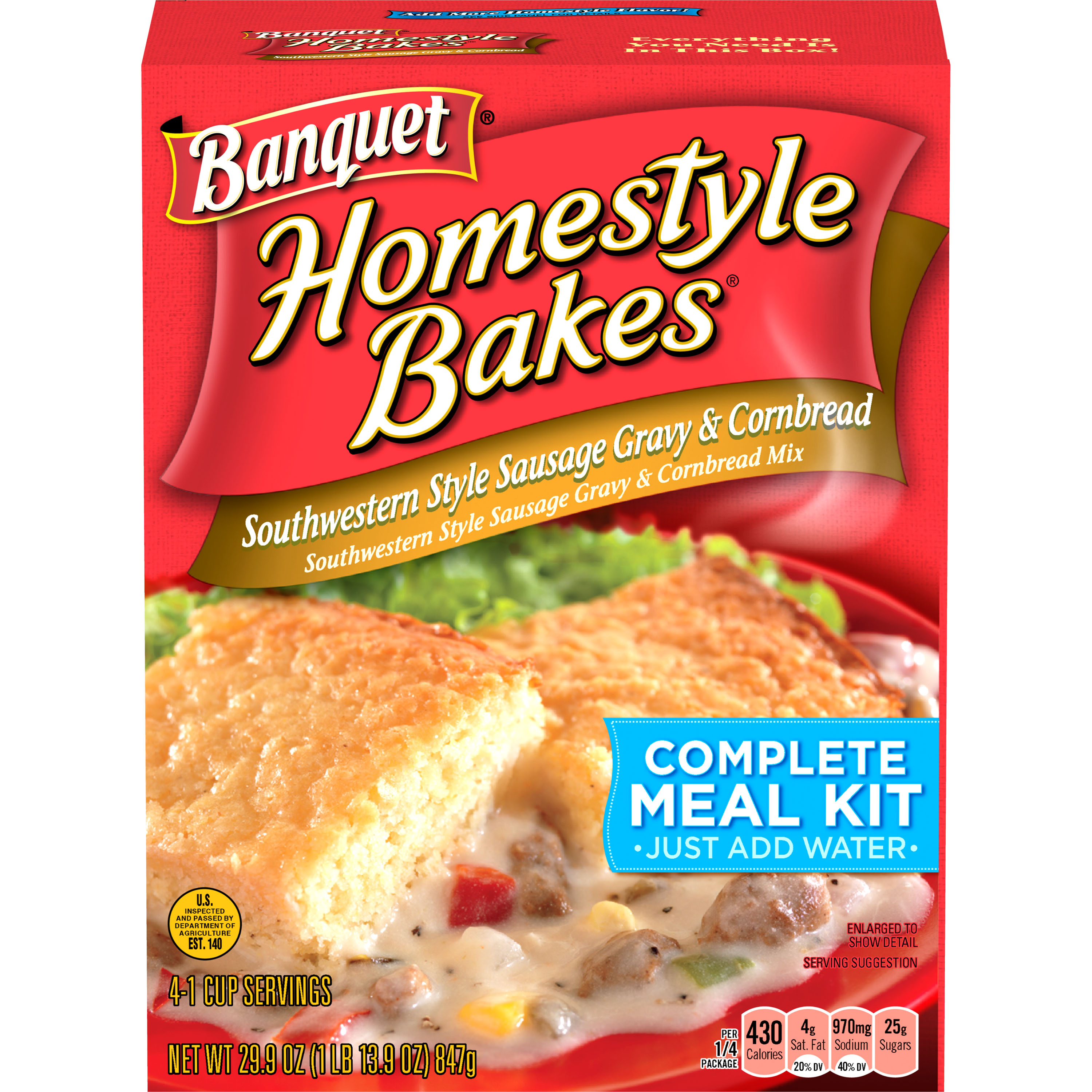 Banquet Homestyle Bakes Southwestern Style Sausage Gravy and Cornbread, 29.9 oz