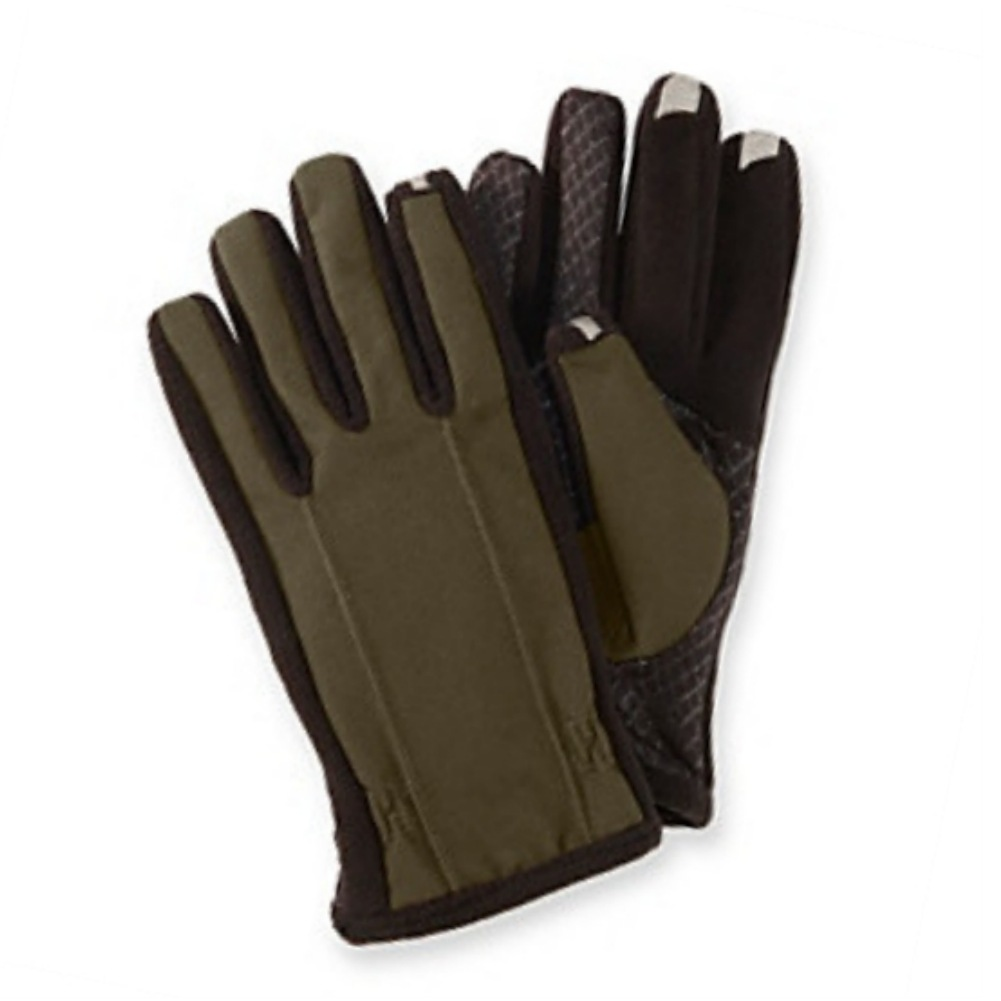 Isotoner Smart Touch Mens Khaki Green Touchscreen Gloves for Texting & IPhones