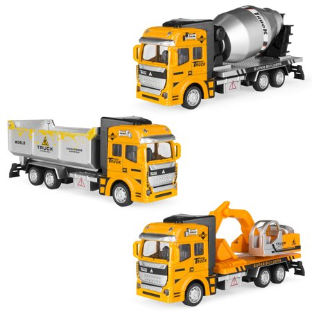 Best Choice Products 7.5in Set of 3 Friction-Powered Construction Toy Trucks w/ Excavator, Dump Truck, Cement Truck