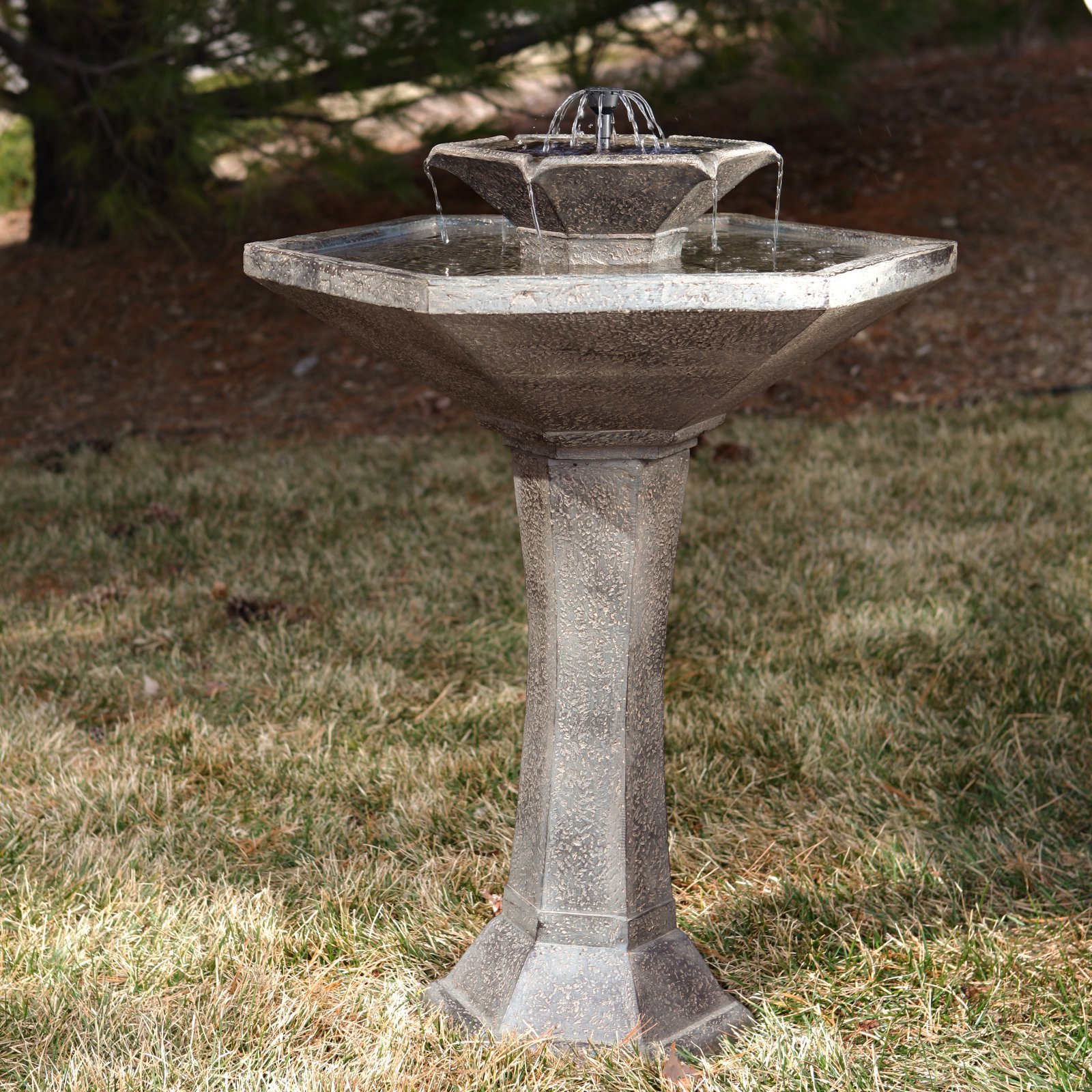 Smart Solar Alfresco 2-Tier Solar Birdbath Fountain by