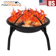 Wholesale Fire Pit Set, Wood Burning Pit - Includes Spark Screen and Log Poker - Great for Outdoor and Patio, 22 Round Metal Firepit