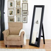 McLean Modern Mirror with Built-In Stand, Dark Brown