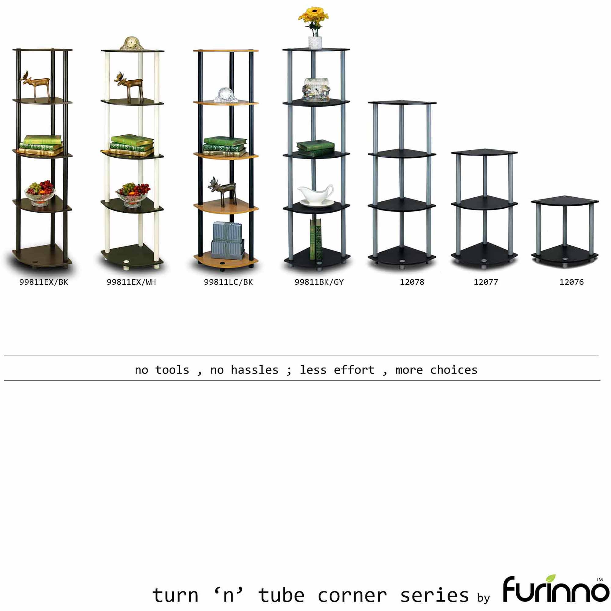 Furinno 99811 Turn-N-Tube 5-Tier Corner Display Rack Multipurpose Shelving Unit