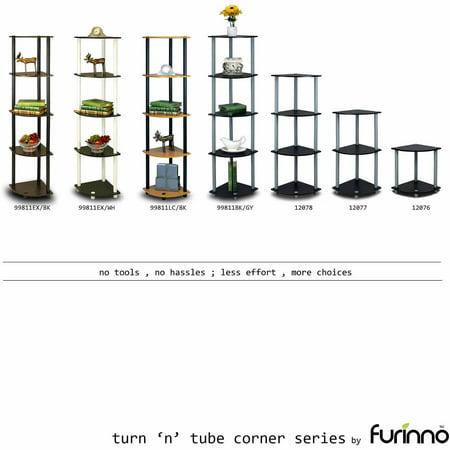 Furinno 99811 Turn N Tube 5 Tier Corner Display Rack Multipurpose Shelving Unit